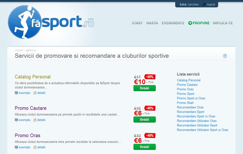 Lista servicii faSport